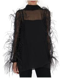 Valentino - Sheer Feather Trim Blouse - Lyst