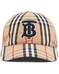Burberry Monogram Motif Vintage Check Baseball Cap - Natural