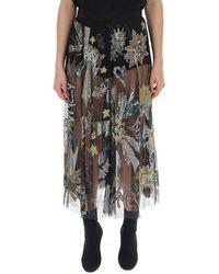 Amen Sheer Embellished Skirt - Black
