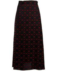 Marine Serre Printed Wrap Skirt - Black