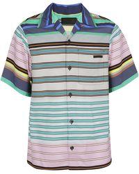 Prada Striped Short-sleeve Shirt - Blue