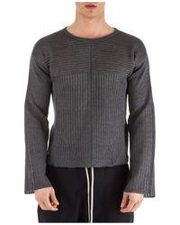 Rick Owens Ribbed Crewneck Sweater - Gray