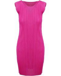 Pleats Please Issey Miyake Pleated Sheath Dress - Pink