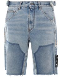 Off-White c/o Virgil Abloh Reconstructed Carpenter Frayed Shorts - Blue