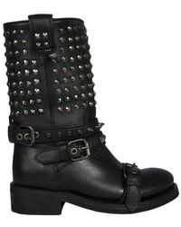 Ash Alto Studded Military Boots - Black