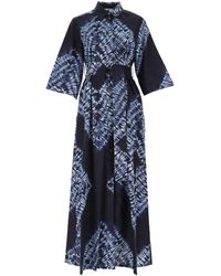 P.A.R.O.S.H. Printed Tie-waist Dress - Blue