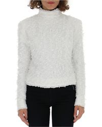 Balmain Furry Zip Jumper - White