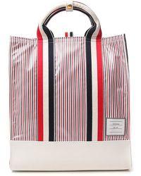 Thom Browne Striped Tote Bag - Red