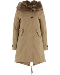 Woolrich Fur Lined Collar Padded Parka - Natural