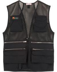 Palm Angels V-neck Pocket Detailed Mesh Gilet - Black