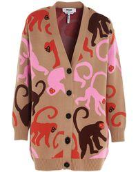 MSGM Monkey Intarsia Cardigan - Pink