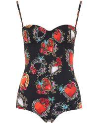 3428ab556b33d8 Dolce & Gabbana Majolica And Dot-print Balconette Bikini in Blue - Lyst