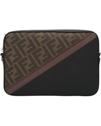 Fendi Ff Monogram Diagonal Crossbody Bag - Brown