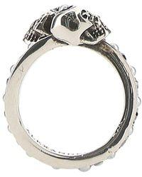 Alexander McQueen Twin Skull Ring - Metallic
