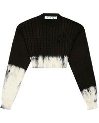 Off-White c/o Virgil Abloh Tie Dye Cropped Jumper - Black