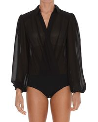 Elisabetta Franchi Puff Sleeve Bodysuit Blouse - Black