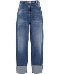 Pinko Belted Wide-leg Jeans - Blue