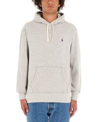 Polo Ralph Lauren Classic Logo Embroidered Drawstring Hoodie - Gray