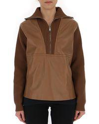 Prada Ribbed Zip Sweater - Brown