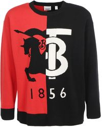 Burberry Contrast Color Logo Sweater - Red