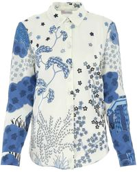 RED Valentino Printed Crepe Shirt Nd - Blue