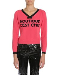 Boutique Moschino Intarsia-knit Wool And Cashmere-blend Sweater Pink