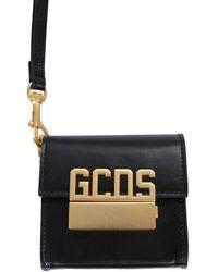 Gcds Leather Bag With Logo - Black