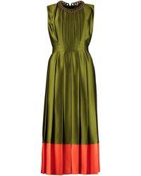 MSGM Pleated Midi Dress - Green