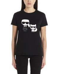 Karl Lagerfeld Karl And Choupette Ikonik T-shirt - Black