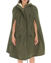 Miu Miu Shearling Hooded Cape - Green