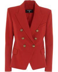 Balmain Grain De Poudre Double Breasted Jacket - Red