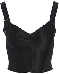 Dolce & Gabbana Lace Crop Top - Black