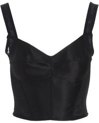 Dolce & Gabbana Lace-embellished Cropped Top - Black