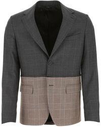 Fendi Zipped Bicolor Check Blazer - Gray