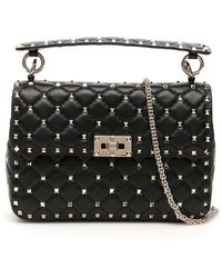 Valentino Garavani Rockstud Spike Medium Shoulder Bag - Black