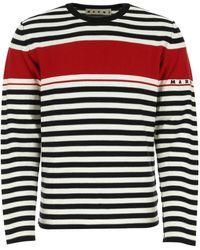 Marni Striped Crew-neck Sweatshirt - Red