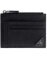 Prada Logo Plaque Zipped Cardholder - Black