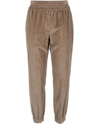 Brunello Cucinelli Corduroy Ribbed Track Pants - Brown