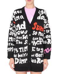 MSGM Allover Letter Knitted Cardigan - Black