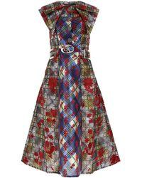 Chopova Lowena Panelled Belted Sleeveless Dress - Multicolour