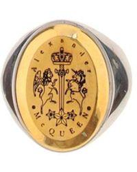 Alexander McQueen - Logo Engraved Signet Ring - Lyst