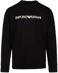 Emporio Armani Logo Print Long-sleeved Sweatshirt - Black