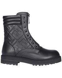 Fendi Ff Motif Embossed Boots - Black