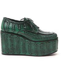 Prada Woven 110 Platform Lace-up Shoes - Green