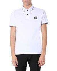 Stone Island Logo Polo Shirt - White