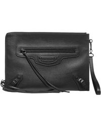 Balenciaga Neo Classic Strapped Pouch Bag - Black