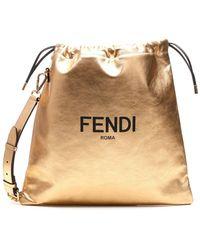 Fendi Logo Metallic Bucket Bag