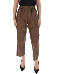 MM6 by Maison Martin Margiela Cropped Leather Pants - Brown