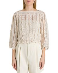 RED Valentino Lace Sheer Blouse - White