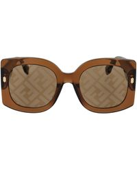 Fendi Oversize Square Frame Sunglasses - Brown